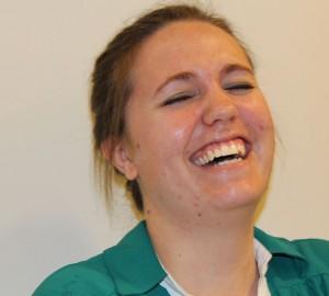 Jenny sharing a laugh