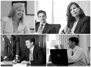 Clockwise from top left: Sharon D. Stuart, J. Paul Zimmerman, Deborah Alley Smith, Jonathan W. Macklem, William L. Thuston, and Bradley R. Hightower